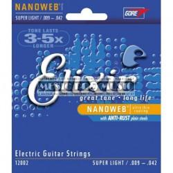 Elixir 12002 - Jeu de cordes Nanoweb 9-42 pour guitare électrique
