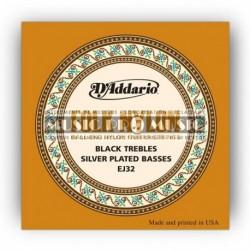 D'Addario EJ32 - Jeu de cordes à boule Argent nylon noir pour guitare classique