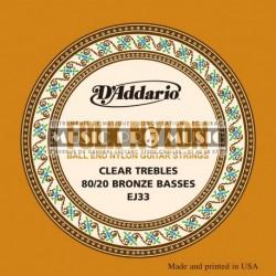 D'Addario EJ33 - Jeu de cordes à boule Cuivre nylon clair pour guitare classique
