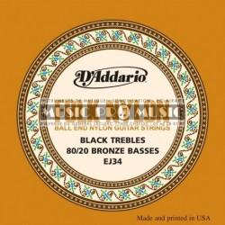 D'Addario EJ34 - Jeu de cordes à boule Bronze nylon noir pour guitare classique
