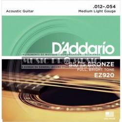 D'Addario EZ920 - Jeu de cordes Bronze 12-54 pour guitare acoustique