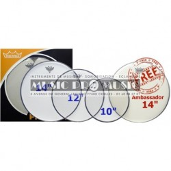 "Remo PP-0240-BE - Pack peau Pinstripe Clear + peau Ambassador Coated 14"" offerte"