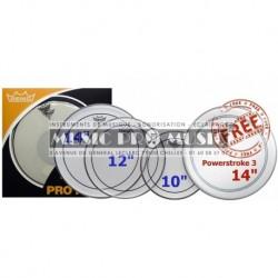 "Remo PP-0310-PS - ProPack (Pinstripe transparente 10"" 12"" 14"" + P3-0114-BP 14"" gratuite)"