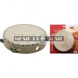 "Stagg STA-1108 - Tambourin peau 8"" fixe bois 1 rangée cymbalettes"