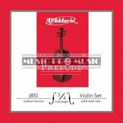 D'Addario J810-34M - Jeu de cordes pour violon 3/4 medium