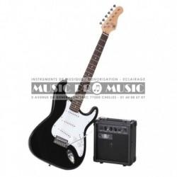 Legend S100-BK - Pack Guitare électrique noire forme stratocaster avec ampli
