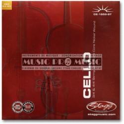 Stagg CE-1859-ST - Jeu de cordes pour violoncelle 4/4 et 3/4 acier filé nickelé