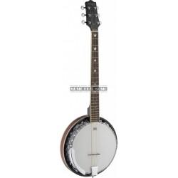 Stagg BJM30-G - Banjo Bluegrass Deluxe 6-cordes avec corps en métal et tête de guitare