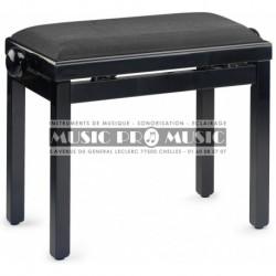 Stagg PB39-BKP-VBK - Banquette de piano noir brillant avec pelote en velours noir nervuré