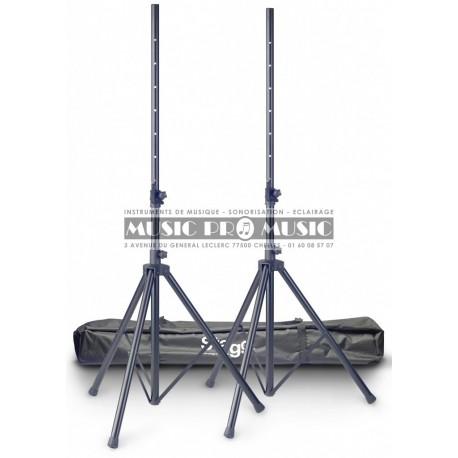 Stagg SPS10-ST-BK-SET - 2 Pieds en aluminium pour enceintes avec housse de transport