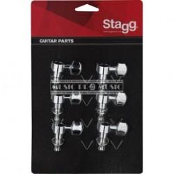 Stagg KG673CR - 6 mécaniques chromées individuelles pour guitares électriques ou folk