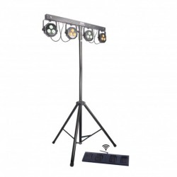 Power Lighting 4-WASHBAR - Ensemble 4 par LED 3x9W 3-en-1 + Strobe 4x1W + Pédalier sans fil