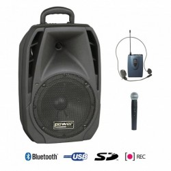 Power Acoustics BE_4400_PTMK2 - Sono Portable USB + SD CARD + 1 Micro Main + 1 Body Pack Serre-tête + Bluetooth