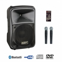 Power Acoustics BE 9412 UHF ABS - Sono portable CD MP3+USB+DIVX+2 micros main+bluetooth