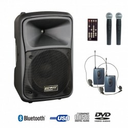 Power Acoustics BE 9412 UHF PT ABS - Sono portable CD MP3 + USB +DIVX + 2 micros main UHF + body pack + bluetooth