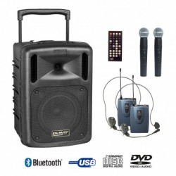 Power Acoustics BE_9610_PTABS - Sono portable CD MP3+USB+DIVX+2 micros main+BODY PACK+bluetooth