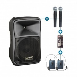 Power Acoustics BE-9700-PT-MK - Sono Portable 200W + 100W + 2 Micros + Serre-tête + DVD + USB