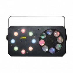 Power Lighting METEOR V - Jeux de lumière 3-en-1 : Wash, Gobos Moonflower, Laser multipoints Rouge et Vert