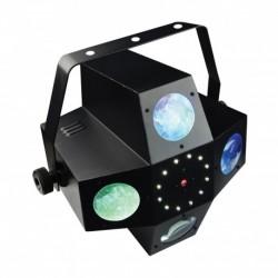 Power Lighting METEOR VII - Jeux de lumière 3-en-1 : Beam Moonflower, Strobe, Laser multipoints Rouge et Vert