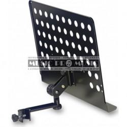 Stagg MUS-ARM2 - Grande tablette de pupitre perforée avec bras à fixer sur un stand