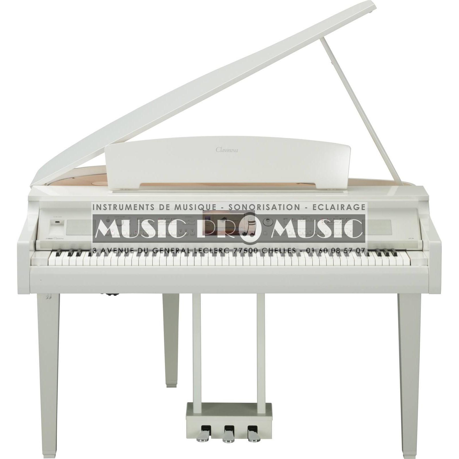 Yamaha cvp709gppwh piano num rique arrangeur blanc laqu for Meuble yamaha
