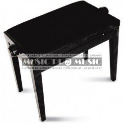 GNG 104-5BK - Banquette piano velour noir bois noir laqué
