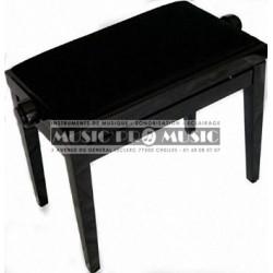 GNG 104-5BKM - Banquette piano velour noir bois noir satiné