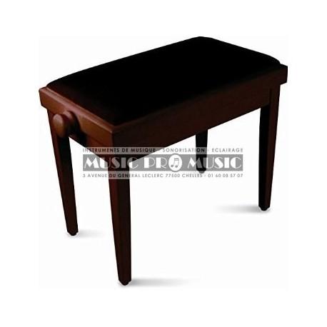 GNG 104-5RM - Banquette piano velour noir bois rosewood satiné