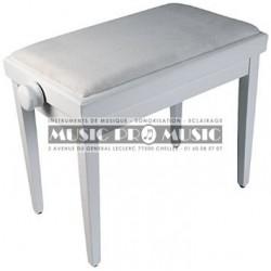 Delson 104-5W - Banquette piano velour noir bois blanc laqué