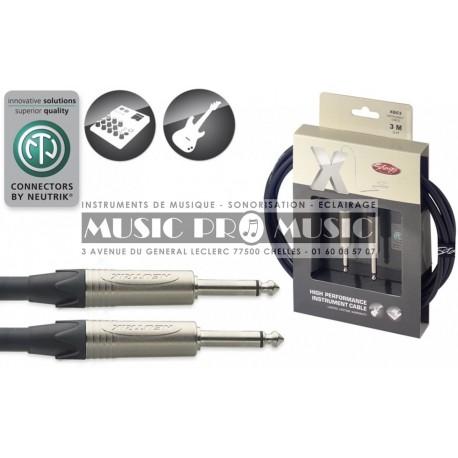 Stagg XGC3 - Câble instrument Jack 6,35mm mâle mono haute performance 3 mètres