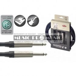 Stagg XGC6 - Câble instrument Jack 6,35mm mâle mono haute performance 6 mètres
