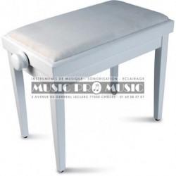 GNG 104-5WM - Banquette piano velour noir bois blanc satiné