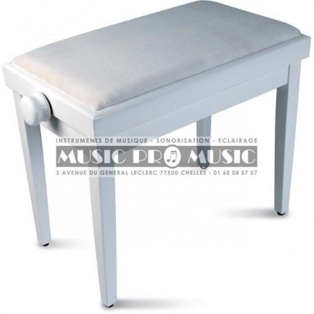 Delson 104-5WM - Banquette piano velour noir bois blanc satiné