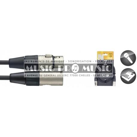 Stagg NMC1R - Câble XLR mâle - XLR femelle 1 mètre