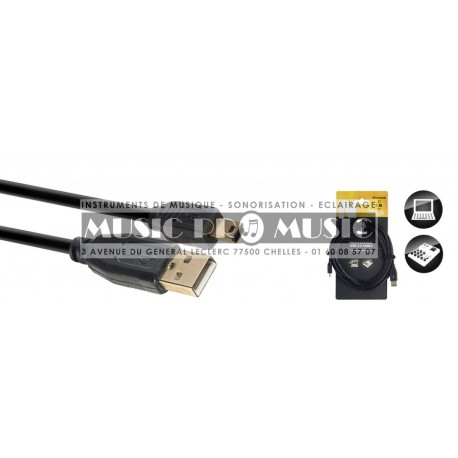 Stagg NCC3UAUNB - Câble USB 1 et 2 Fiche A vers Mini B 3 mètres