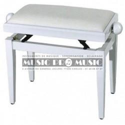 Gewa F900567 - Banquette piano velour noir bois blanc satiné