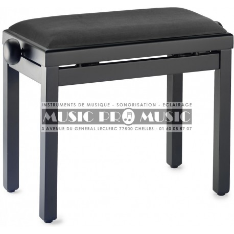 Stagg PB39-BKM-VBK - Banquette piano velour noir bois noir satiné