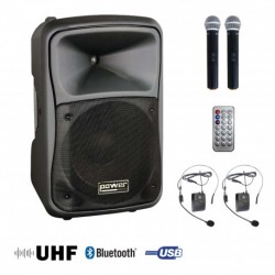 Power Acoustics BE-9700-MEDIA - Sono portable MP3+USB+2 micros main UHF+2 serres-tête