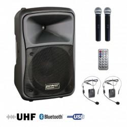 Power Acoustics BE 9700 UHF PT MEDIA - Sono portable MP3+USB+2 micros main UHF+2 serres-tête