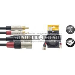 Stagg NTC3CMXMR - Câble bretelle 2x RCA mâle - 2x XLR mâle 3 mètres