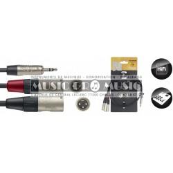 Stagg NYC1/MPS2XMR - Série N câble Y mini jack/jack (m/m) stéréo/mono 1 m