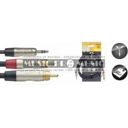 Stagg NYC3-MPS2CMR - Câble Y Jack 3,5mm mâle stéréo - 2x RCA mâle 3 mètres