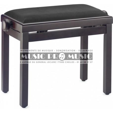 Stagg PB39-RWM-VBK - Banquette piano velour noir bois rosewood satiné