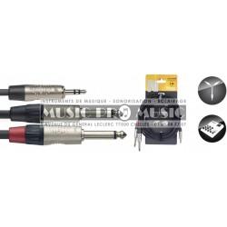 Stagg NYC3-MPS2PR - Câble Y Jack 3,5mm mâle stéréo - 2x Jack 6,35mm mâle mono 3 mètres