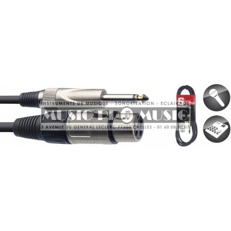 Stagg SMC6XP - Câble XLR femelle - Jack 6,35mm mâle mono 6 mètres
