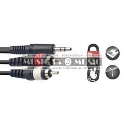 Stagg SYC3/MPS2CM-E - Câble Y Jack 3,5mm mâle stéréo - 2x RCA mâle 3 mètres