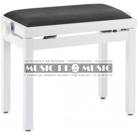 Stagg PB39-WHM-VBK - Banquette piano velour noir bois blanc satiné