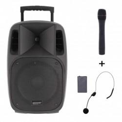 Power Acoustics MOOVY-15-MK2 - Sono portable 15'' sur batterie + 1 micro main VHF + 1 micro serre-tête
