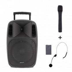 Power Acoustics MOOVY-12-MK2 - Sono portable 12'' sur batterie + 1 micro main VHF + 1 micro serre-tête