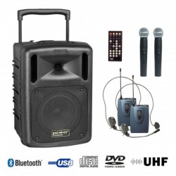Power Acoustics BE-9610UHF-PT - Sono portable CD MP3+USB+DIVX+2 micros main UHF+BODY PACK+bluetooth